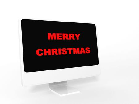 santaclause: three dimensional isolated merry christmas text on monitor