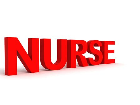 three dimensional: side view of three dimensional nurse word