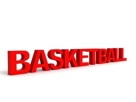side view of three dimensional basket ball text         photo