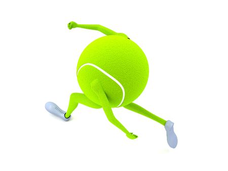 tennisball: isolated three dimensional tennis ball with hands and legs