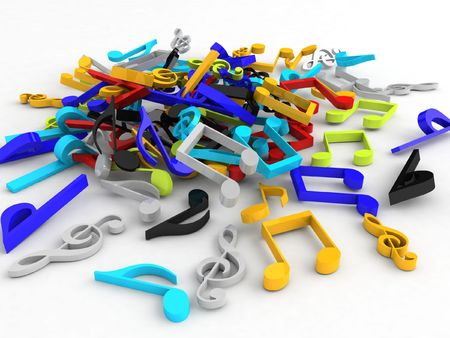 isolated three dimensional bunch of musical notes