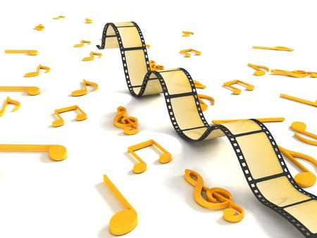 movie film: isolated three dimensional negative roll with musical notes