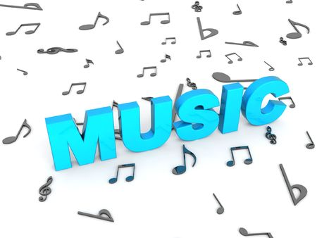 three dimensional blue rendered music text with musical notes Stock Photo - 3844199