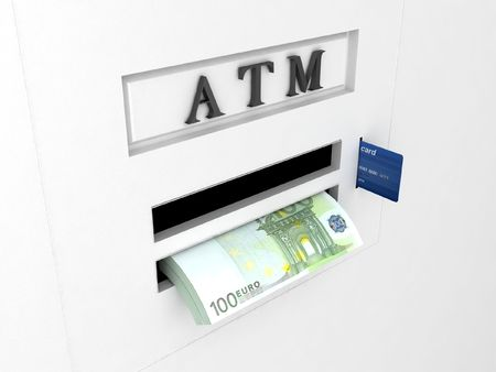 automatic transaction machine: vista en tres dimensiones de atm m�quina Foto de archivo