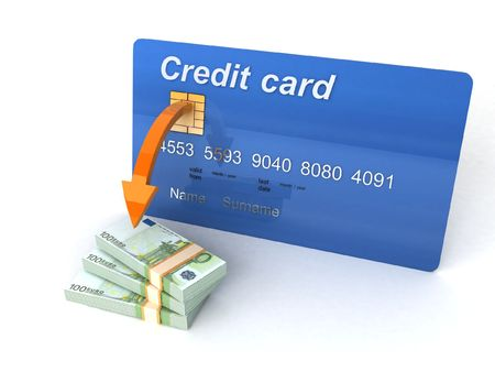 three dimensional credit card with bundle of currency photo