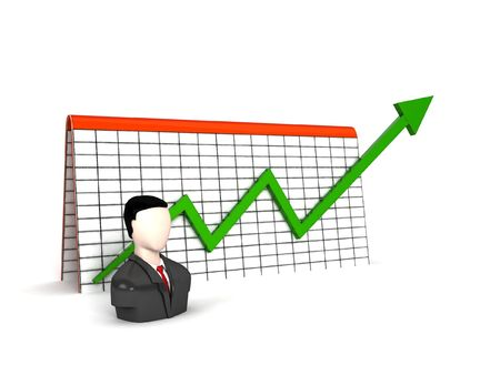 three dimensional man with profit graph on an isolated background photo