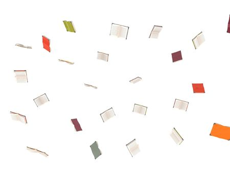 three dimensional flying books on an isolated background photo