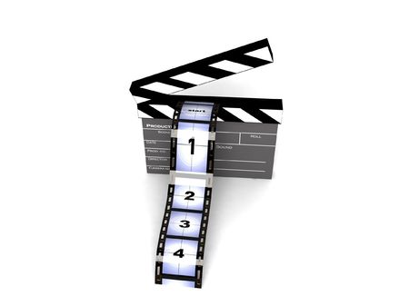 three dimensional  rendered clapperboard with filmstrips Stock Photo - 3844182