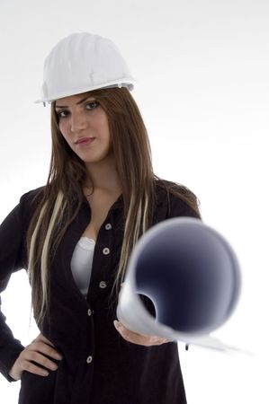 26: stylist female architect standing with blue prints on an isolated white background