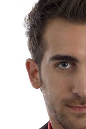 half  length: half length of mans face on an isolated white background Stock Photo