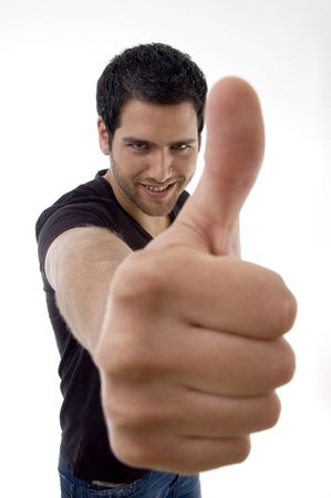 happy male with thumbs up on an isolated white background photo