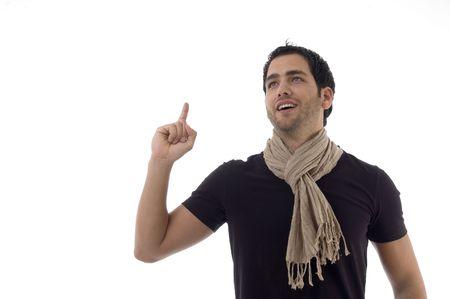 portrait of man indicating upward with white background photo