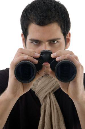 young man holding binocular with white background photo