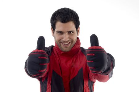 casual man wearing winter clothes and gloves with white background photo
