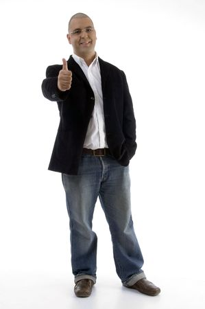 standing businessman with thumbs up with white background photo