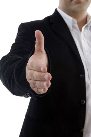 half length of businessman offering handshake on an isolated background photo