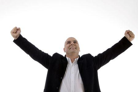portrait of successful businessman against white background