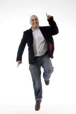 happy caucasian man enjoying dancing against white background Stock Photo - 3866918