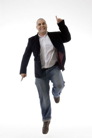 happy caucasian man enjoying dancing against white background Stock Photo - 3866918