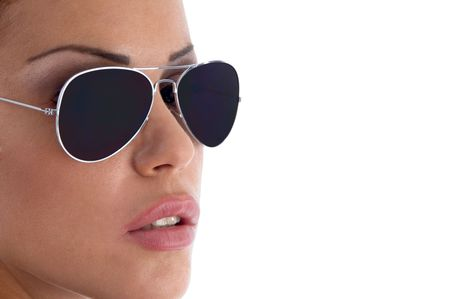 close view of model wearing sunglasses with white background photo