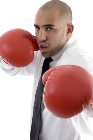 male wearing boxing gloves with white background photo