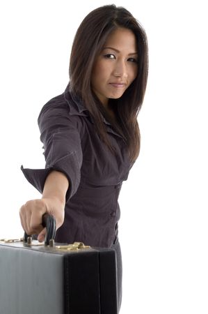 beautiful businesswoman showing briefcase against white background Stock Photo - 3874756