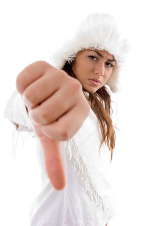 woman showing thumbs down gesture with white background photo