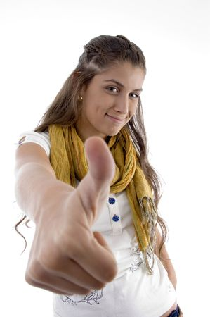 21: fashion girl showing thumbs up on an isolated background Stock Photo