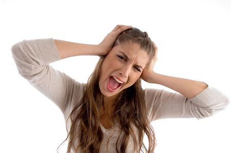 21: woman screaming and holding her head with white background Stock Photo