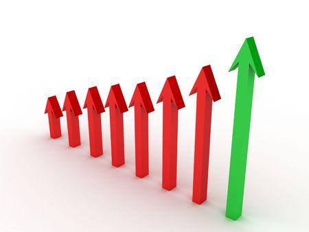 profit loss: three dimensional arrow indicating profit over loss