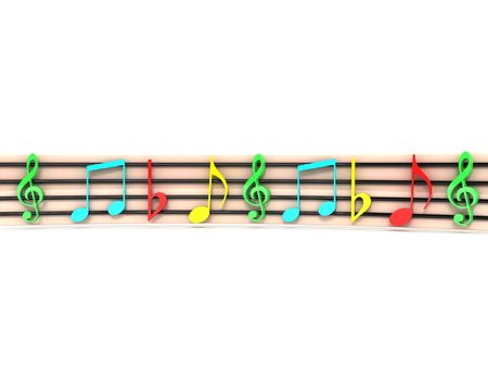 clefs: front view of isolated three dimensional colorful musical clefs