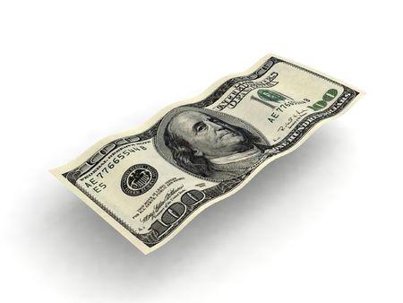 hundred dollar bill: three dimensional wavy one hundred dollar bill   Stock Photo