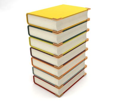 textbooks: three dimensional stack of books against white background