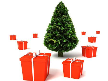 three dimensional green christmas tree with gifts pack against white background photo