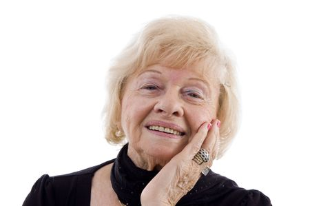 portrait of smiling old woman on an isolated white background Stock Photo - 3892208