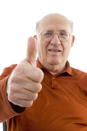 portrait of old man showing thumb up on an isolated background photo