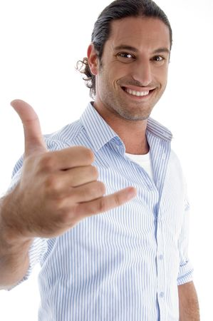 smiling man with hand gesture on an isolated background Stock Photo - 3892345