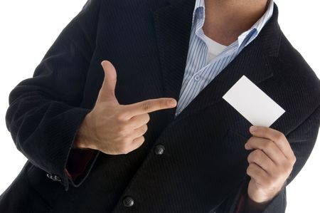 young american male pointing towards business card against white background photo