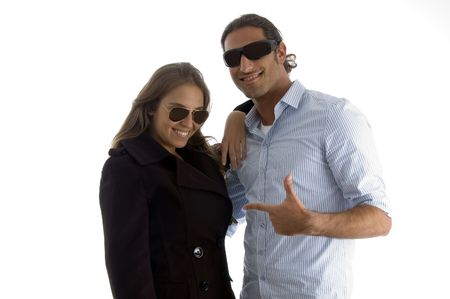 young handsome guy posing with his partner on an isolated white background photo