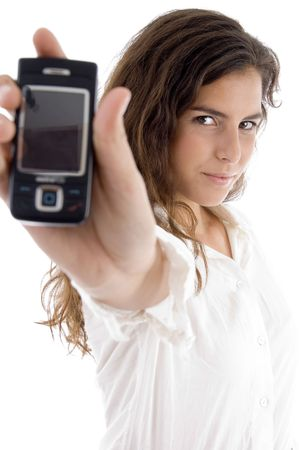 21: young woman showing cell phone on an isolated white background Stock Photo