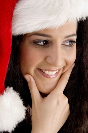 smiling young woman with christmas hat on an isolated background Stock Photo - 3892763