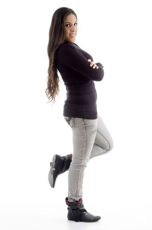 side pose of standing woman on an isolated background photo