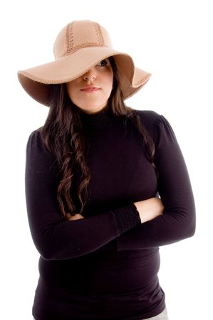 beautiful woman wearing hat on an isolated background photo