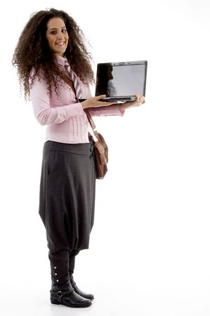 21: attractive young executive busy with laptop on an isolated white background Stock Photo
