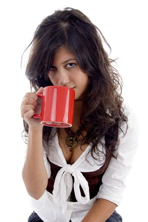 18: sexy teenager posing with coffee mug with white background