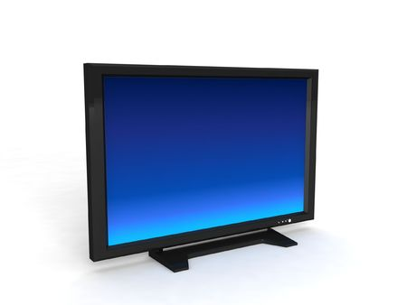 telecast: three dimensional lcd television with white background