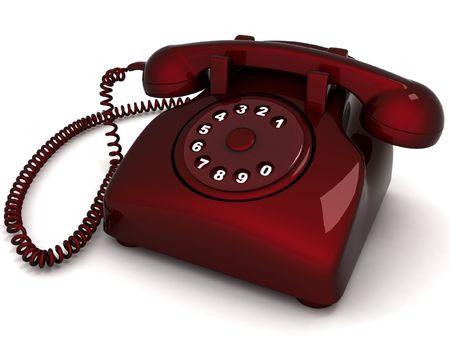 dialing: three dimensional landline phone against white background