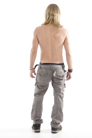 males only: back pose of muscular male on an isolated white background