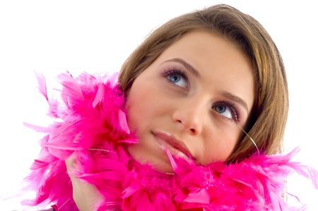 stole: beautiful female wearing feather stole on an isolated background Stock Photo