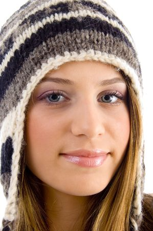 close up of beautiful female looking at camera on an isolated white background photo